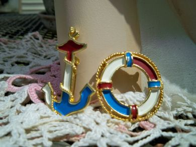 Vintage Anchor & Life Ring Brooches Pins Pair