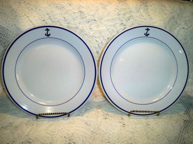 Vintage Buffalo China Navy Anchor Dinner Plates
