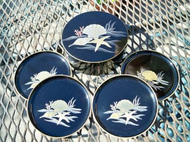 Vintage Clamshell Conch Shell Starfish Coaster Set