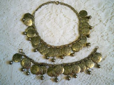 Vintage Egyptian Revival Coin Necklace Bracelet Set Cleopatra