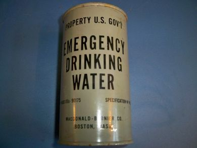 Vintage Emergency Navy Canned Drinking Water