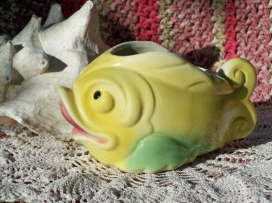 Vintage 1940s Anthropomorphic Cartoon Fish Planter Nautical