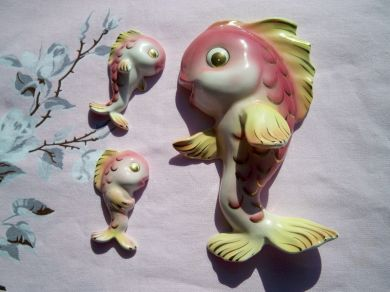 Vintage Lefton Anthropomorphic Fish Chalkware Set