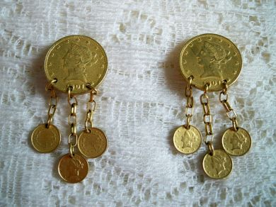 Vintage Lady Liberty Goldtone Dangling Coin Earrings