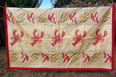 Vintage 1940s 1950s Lobster Tablecloth Picnic BBQ Corn on the Cob Hot Dog Wieners