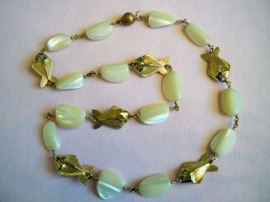 Vintage Napier MOP Chunky Nuggets Fish Necklace Mid Century Modern