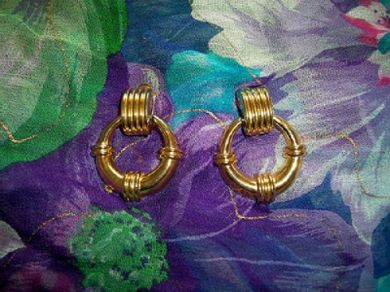 Vintage Nautical Gold Tone Life Ring Earrings Clip On