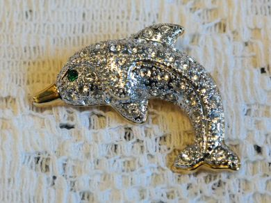 Vintage Rhinestone Dolphin Brooch Gold Plated