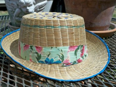 Vintage 1940's - 1950's Straw Fedora California Brim Mens Hat Beach Barbeque Golf
